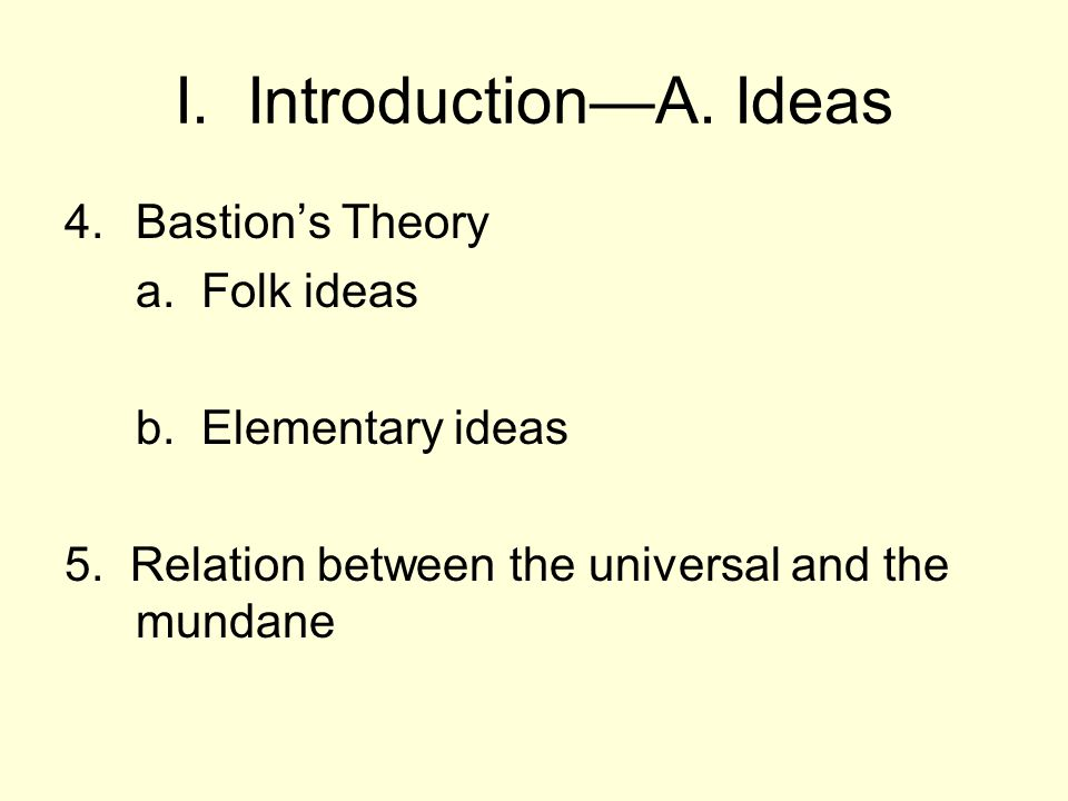 I. Introduction—A. Ideas 4.Bastion's Theory a. Folk ideas b.