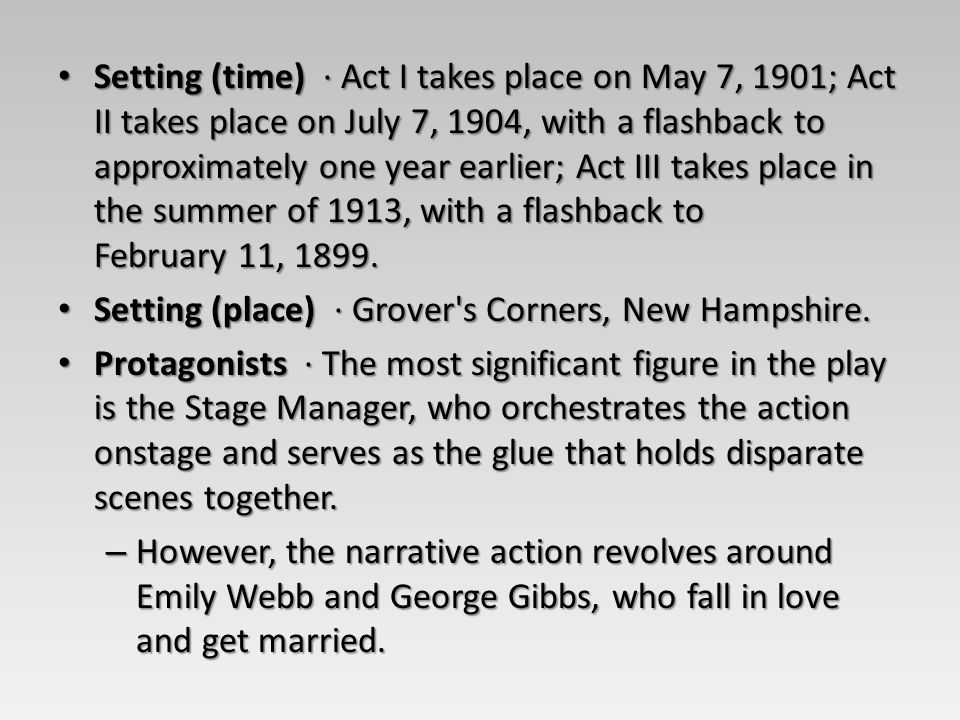Setting (time) · Act I takes place on May 7, 1901; Act II takes place on July 7, 1904, with a flashback to approximately one year earlier; Act III takes place in the summer of 1913, with a flashback to February 11, 1899.