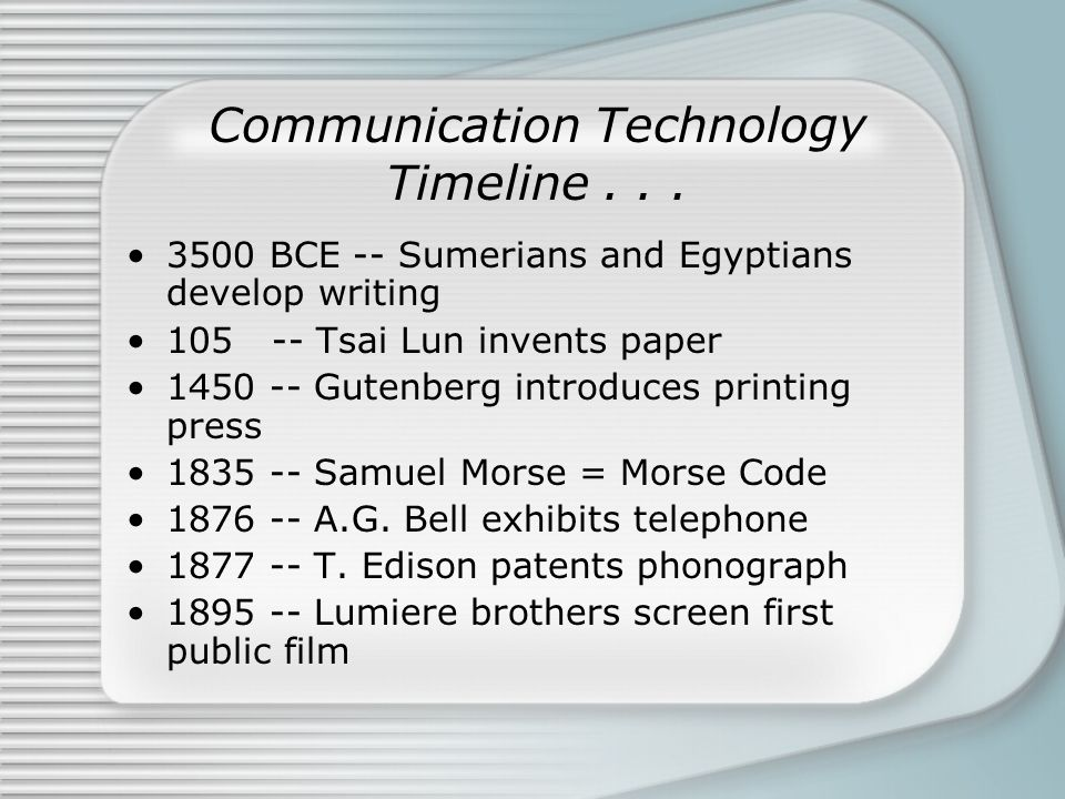 Communication Technology Timeline... 3500 BCE -- Sumerians and Egyptians develop writing 105 -- Tsai Lun invents paper 1450 -- Gutenberg introduces pr