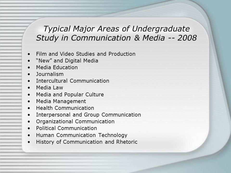 "Typical Major Areas of Undergraduate Study in Communication & Media -- 2008 Film and Video Studies and Production ""New"" and Digital Media Media Educat"