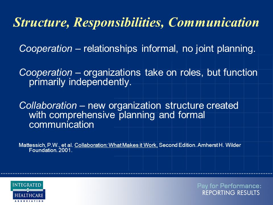 Structure, Responsibilities, Communication Cooperation – relationships informal, no joint planning. Cooperation – organizations take on roles, but fun
