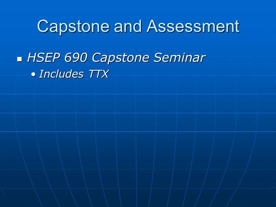 Capstone and Assessment HSEP 690 Capstone Seminar HSEP 690 Capstone Seminar Includes TTXIncludes TTX