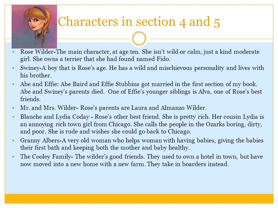 Settings in Sections 4 & 5 Rose's home Blanche's house The Wilder's stable, Farmyard, and crop acres.