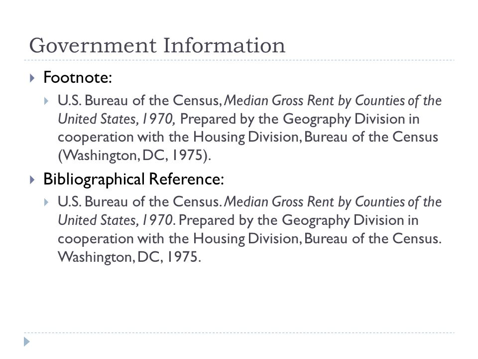 Government Information  Footnote:  U.S.