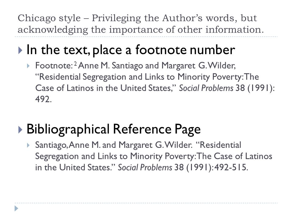 Basic Elements  Author  Title (sometimes two, if you're working with a short piece within a larger collection)  Information about the specific publication  Year  Information about a place within the publication Note that in footnotes, there are commas between each of these elements.