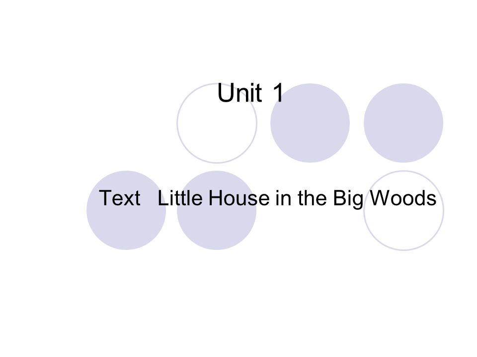 Text Little House in the Big Woods Unit 1