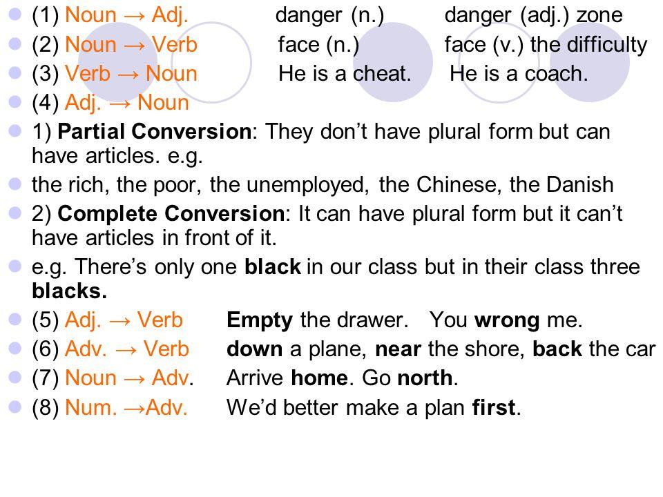 (1) Noun → Adj. danger (n.) danger (adj.) zone (2) Noun → Verb face (n.) face (v.) the difficulty (3) Verb → Noun He is a cheat. He is a coach. (4) Ad
