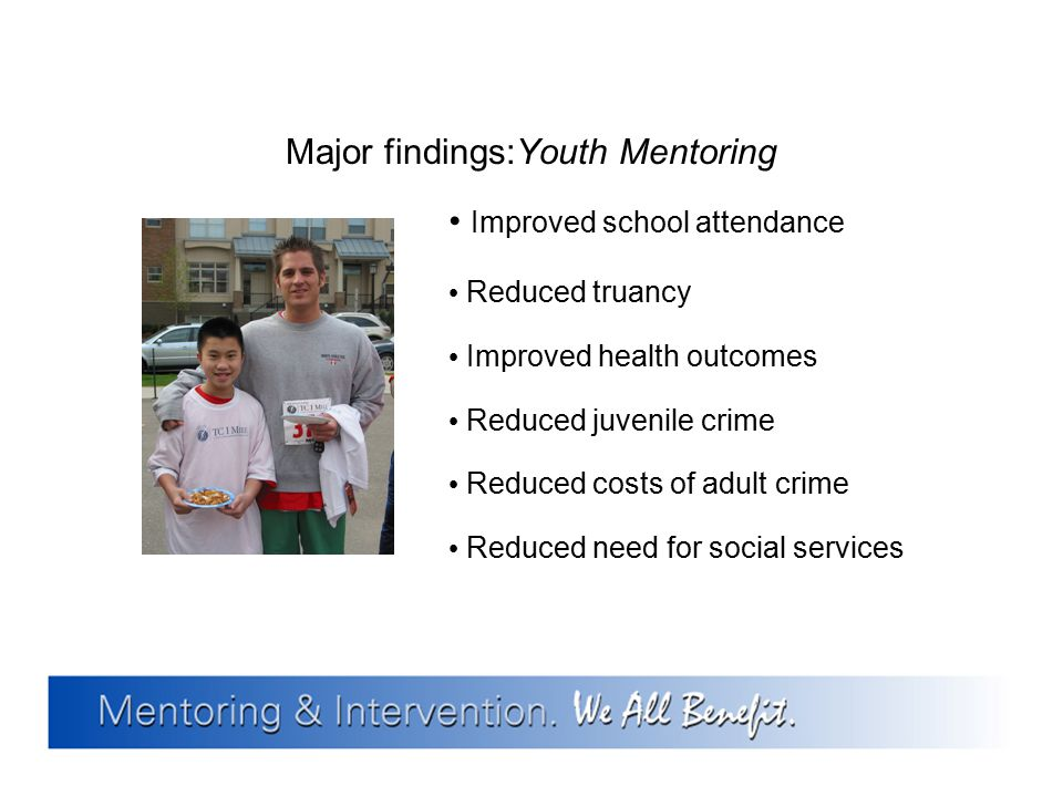 Major findings:Youth Mentoring Improved school attendance Reduced truancy Improved health outcomes Reduced juvenile crime Reduced costs of adult crime