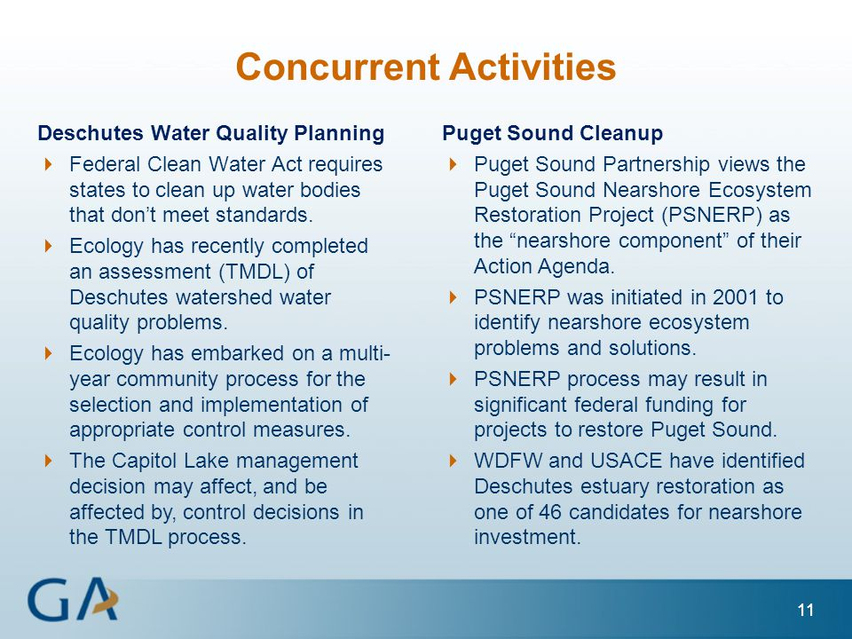 11 Concurrent Activities Deschutes Water Quality Planning  Federal Clean Water Act requires states to clean up water bodies that don't meet standards