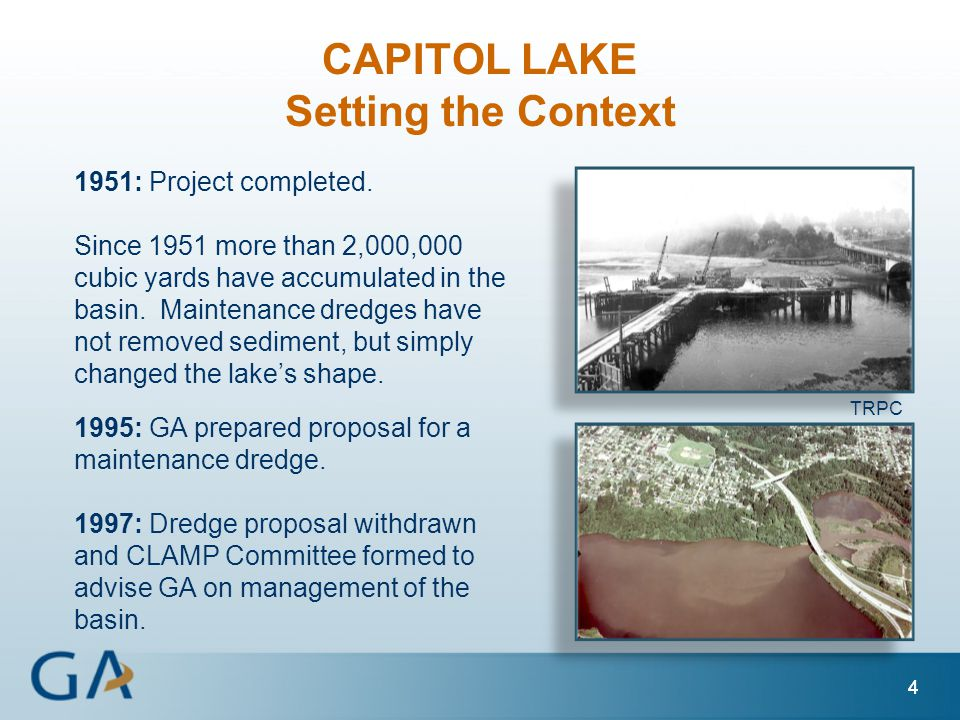 44 1951: Project completed. Since 1951 more than 2,000,000 cubic yards have accumulated in the basin. Maintenance dredges have not removed sediment, b