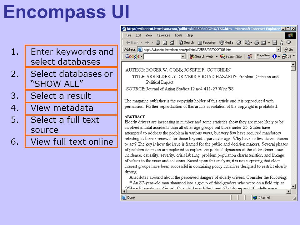 Encompass UI 1.Enter keywords and select databases 2.Select databases or SHOW ALL 3.Select a result 4.View metadata 5.Select a full text source 6.View full text online