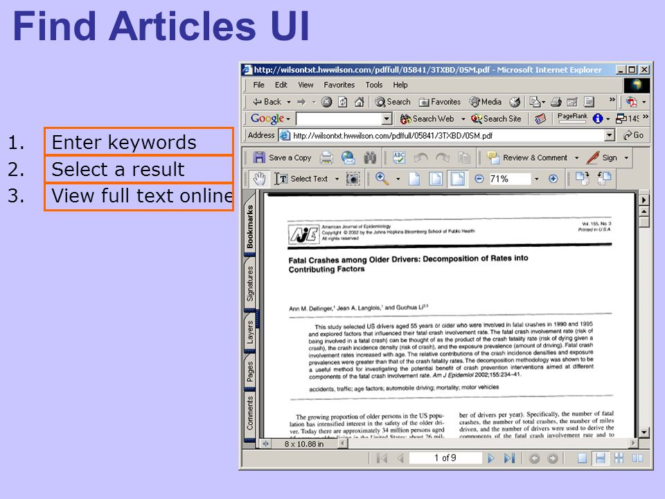 Find Articles UI 1.Enter keywords 2.Select a result 3.View full text online