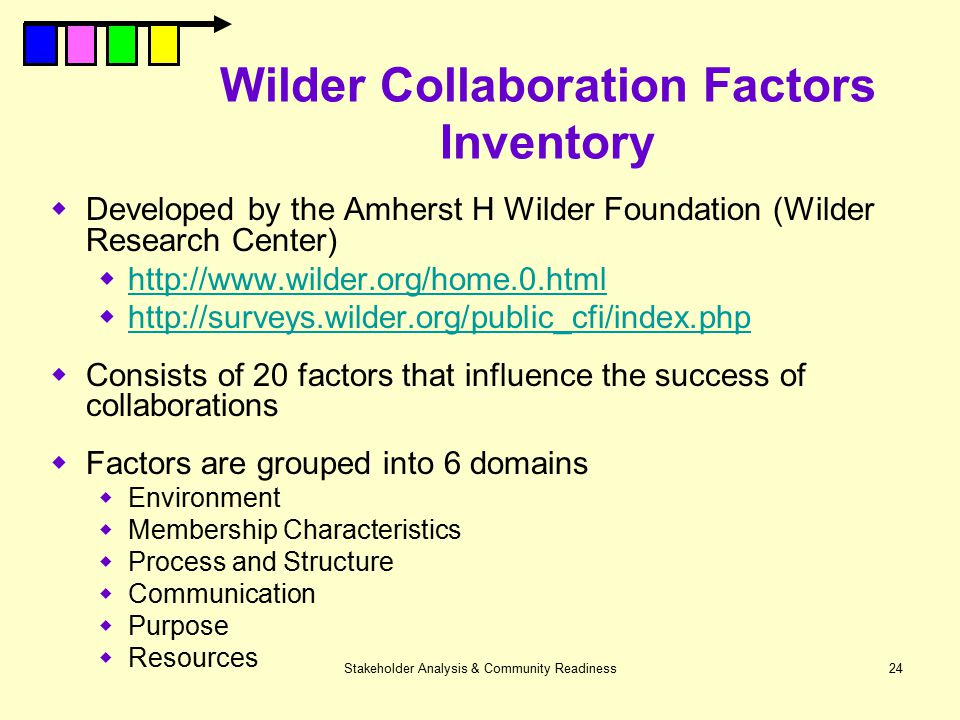Stakeholder Analysis & Community Readiness24 Wilder Collaboration Factors Inventory  Developed by the Amherst H Wilder Foundation (Wilder Research Ce