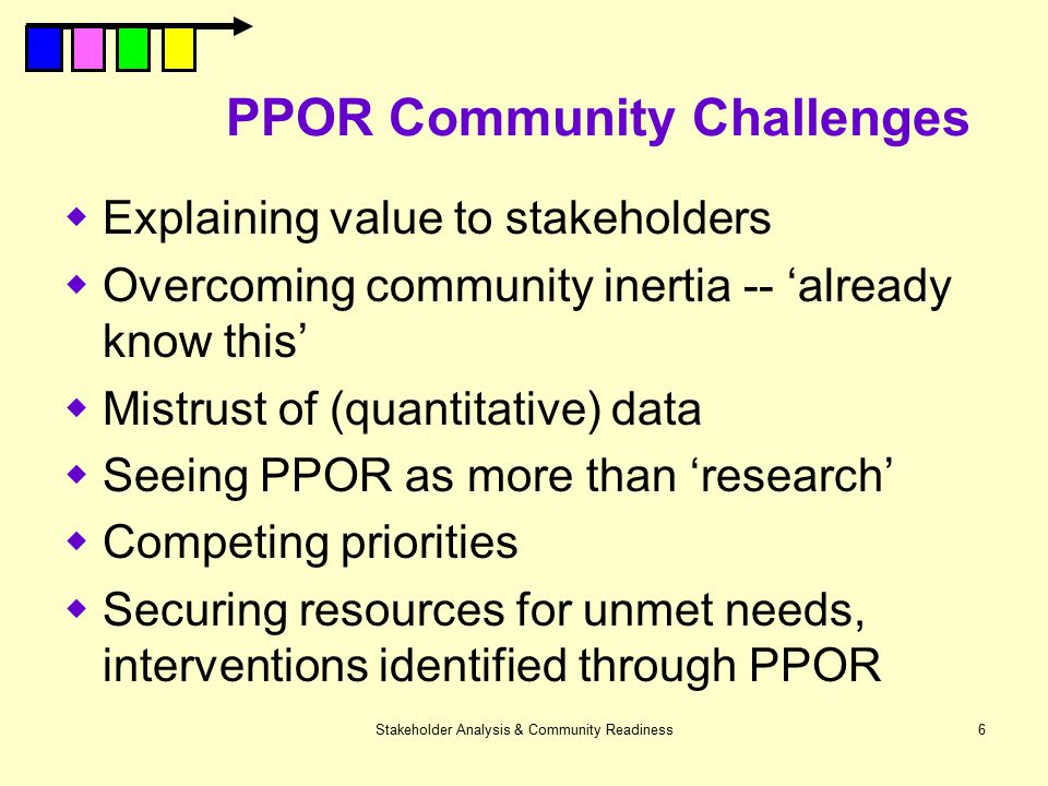 Stakeholder Analysis & Community Readiness6 PPOR Community Challenges  Explaining value to stakeholders  Overcoming community inertia -- 'already kn