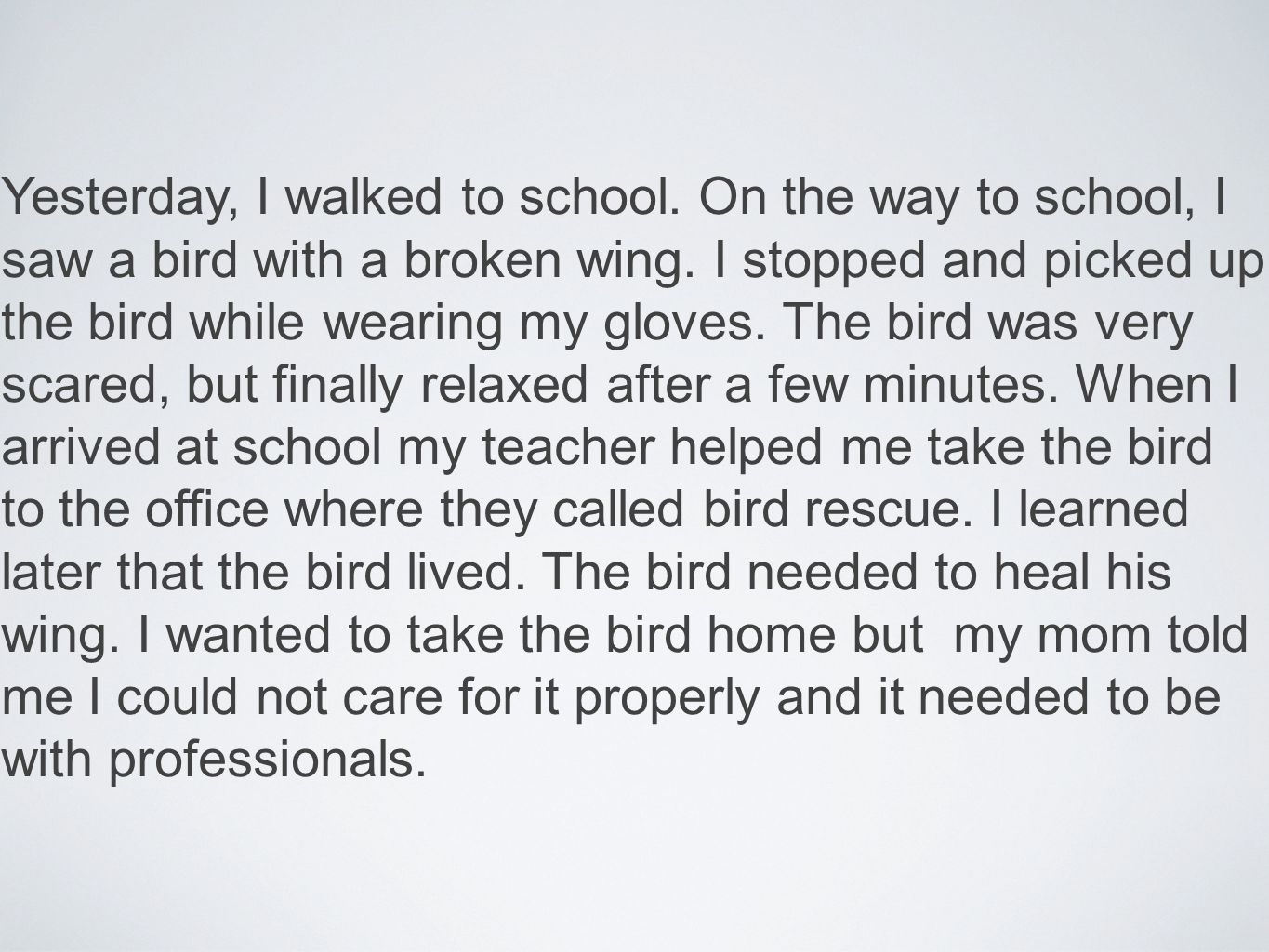 Yesterday, I walked to school. On the way to school, I saw a bird with a broken wing.