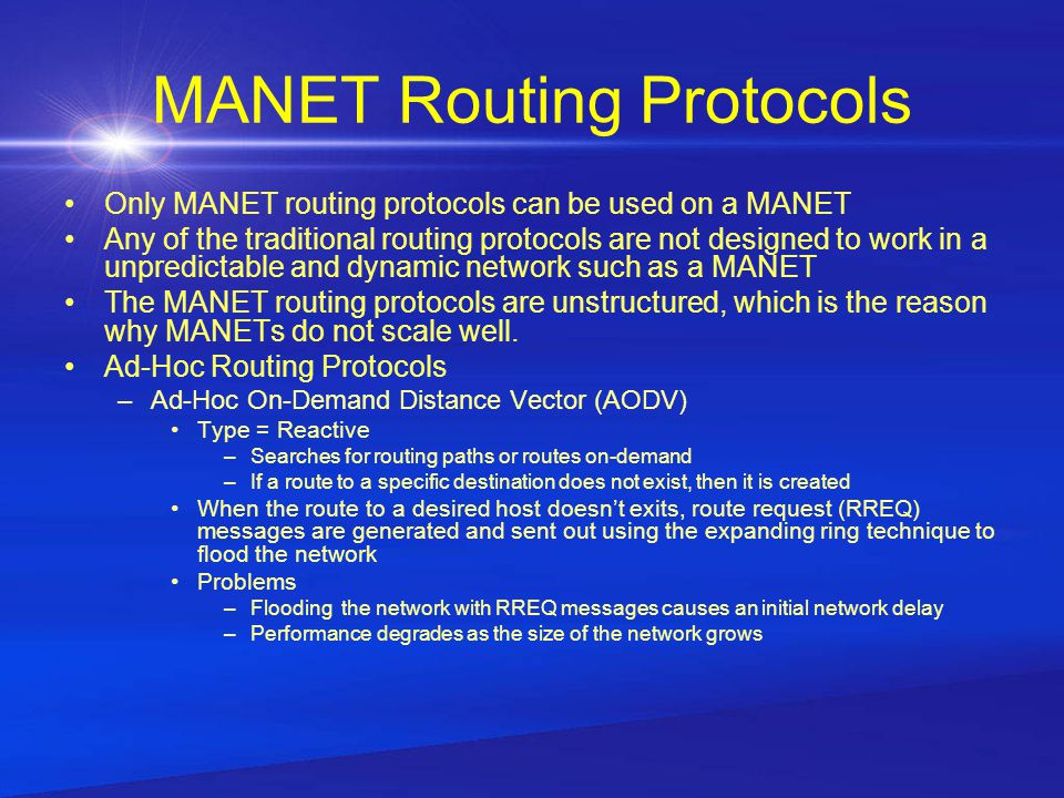 P2P Over MANET A mobile ad hoc network with a peer to peer overlay network A MANET will operate in the first four layers of the OSI model, while P2P will run in the fourth through seventh layer.