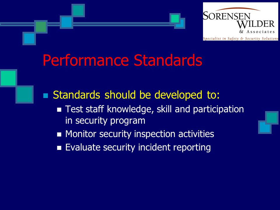 Performance Standards Standards should be developed to: Test staff knowledge, skill and participation in security program Monitor security inspection
