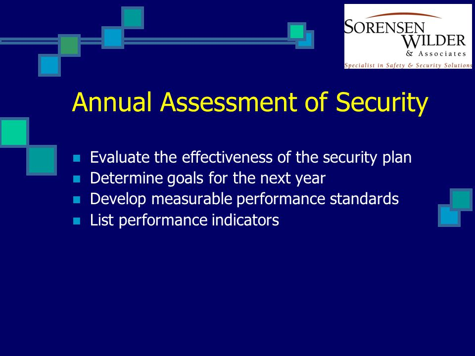 Annual Assessment of Security Evaluate the effectiveness of the security plan Determine goals for the next year Develop measurable performance standar