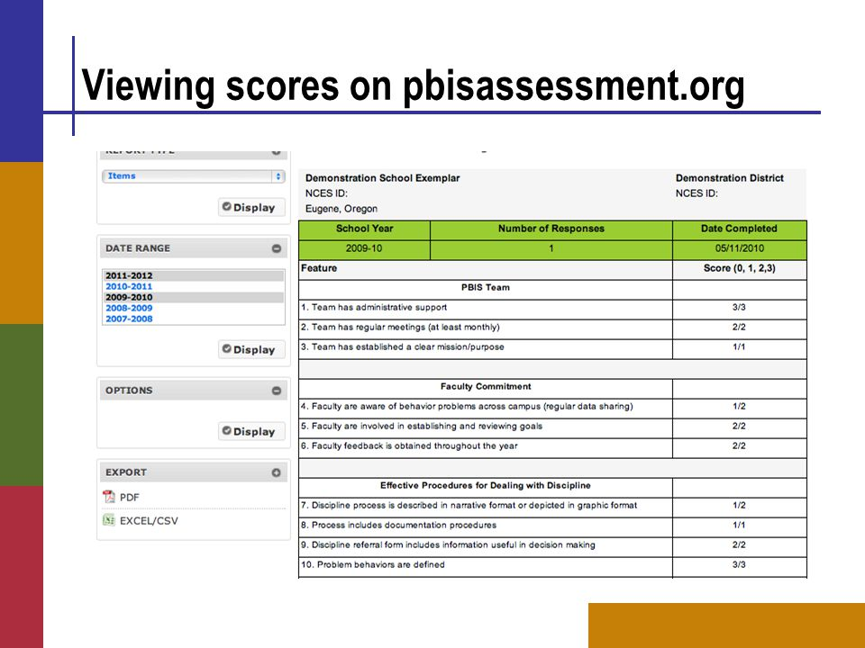 Viewing scores on pbisassessment.org