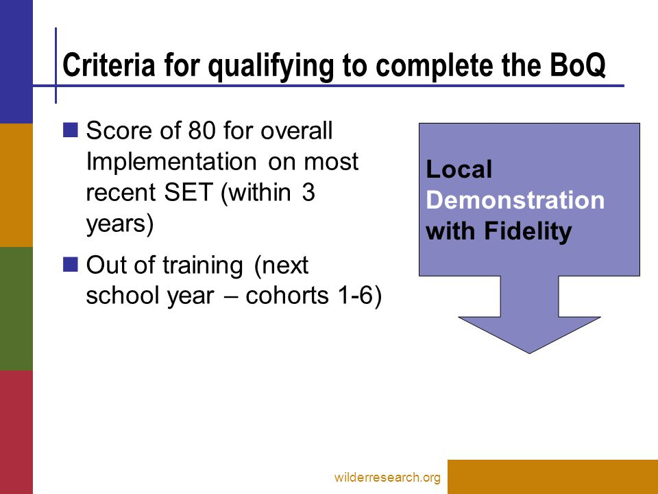 Criteria for qualifying to complete the BoQ wilderresearch.org Local Demonstration with Fidelity Score of 80 for overall Implementation on most recent SET (within 3 years) Out of training (next school year – cohorts 1-6)