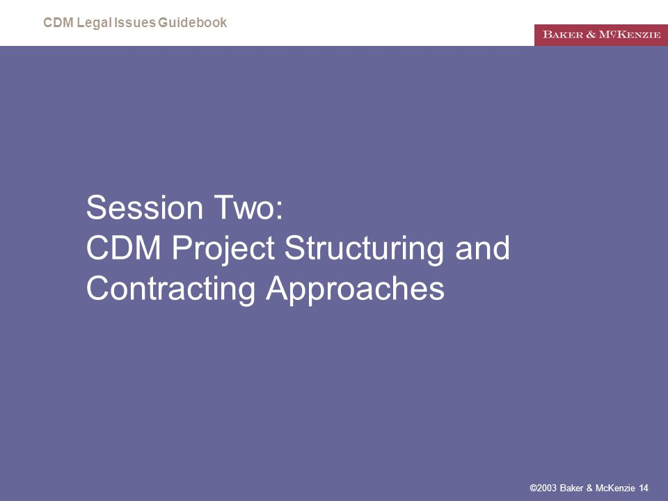 CDM Legal Issues Guidebook ©2003 Baker & McKenzie 14 Session Two: CDM Project Structuring and Contracting Approaches