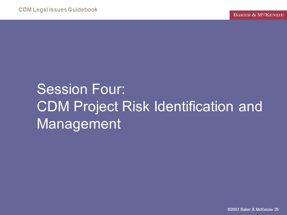 CDM Legal Issues Guidebook ©2003 Baker & McKenzie 29 Session Four: CDM Project Risk Identification and Management