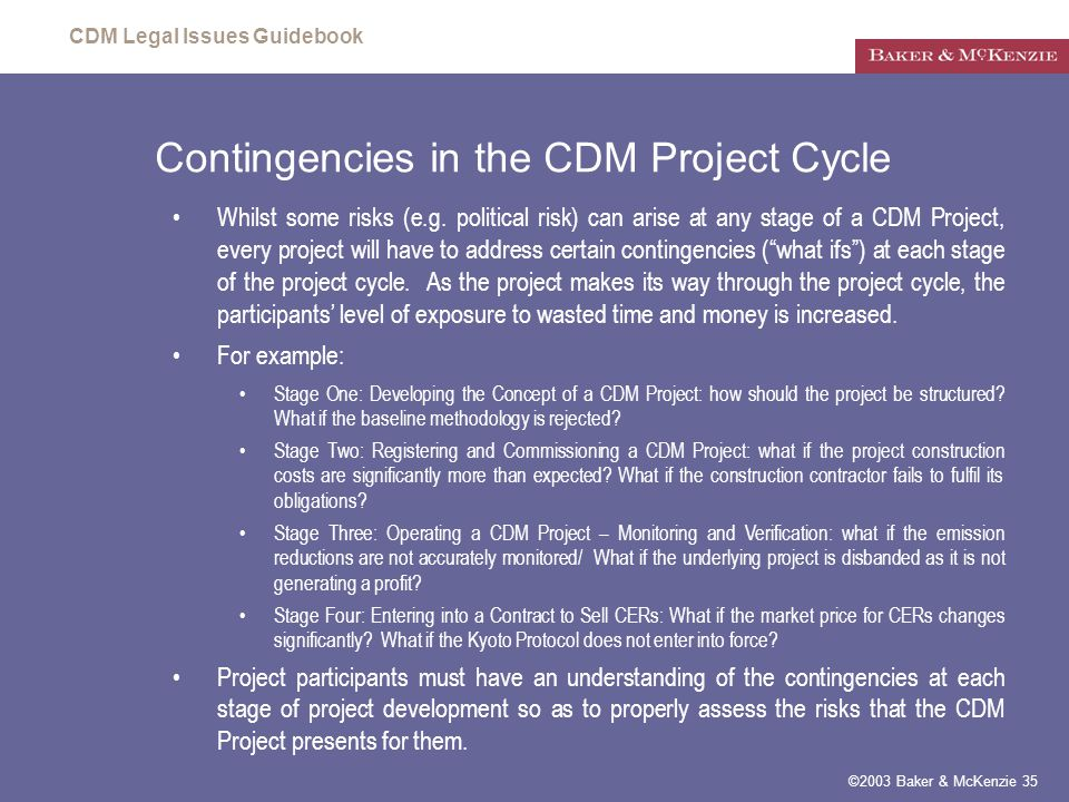 CDM Legal Issues Guidebook ©2003 Baker & McKenzie 35 Contingencies in the CDM Project Cycle Whilst some risks (e.g.