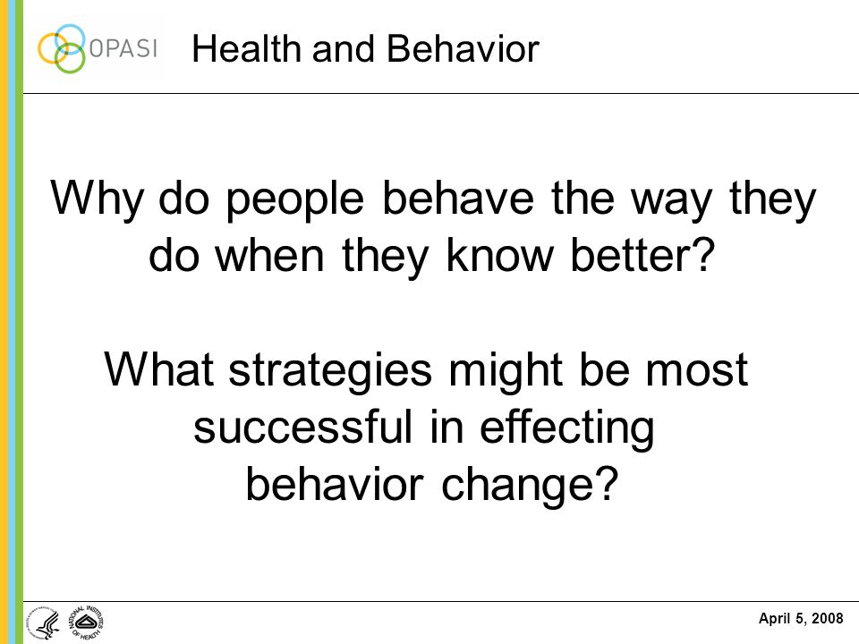 April 5, 2008 Why do people behave the way they do when they know better? What strategies might be most successful in effecting behavior change? Healt