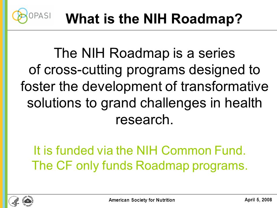 April 5, 2008 American Society for Nutrition NIH and the Future of Medicine: Roadmap for Medical Research Roadmap 1.7% Non-Roadmap 98.3% FY2007 NIH Budget = $28.9 B  Developed to increase synergy across NIH and to incubate new ideas  Not a single initiative but 865 new awards –716 investigators –193 Institutions in USA –41 states –Award rate 1 FY04 16.7% FY05 18.2% FY06 19.5% FY07 9.2% 1 Award Rate differs from Success Rate for it includes all research grant mechanisms of support, incl.