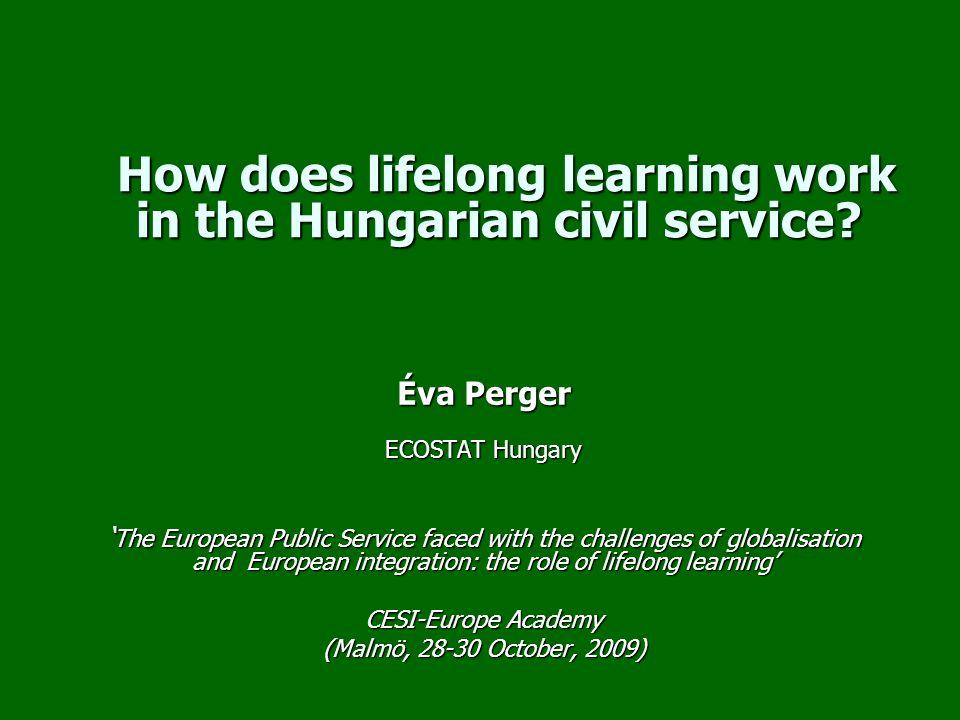 Scheme of presentation The Hungarian civil service The Hungarian civil service Challenges for the Hungarian public sector Challenges for the Hungarian public sector Does the legal background stimulate civil servants to improve their competences.
