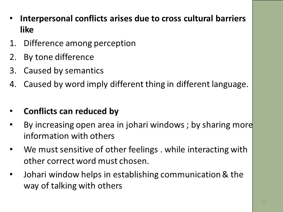 Interpersonal conflicts arises due to cross cultural barriers like 1.Difference among perception 2.By tone difference 3.Caused by semantics 4.Caused by word imply different thing in different language.