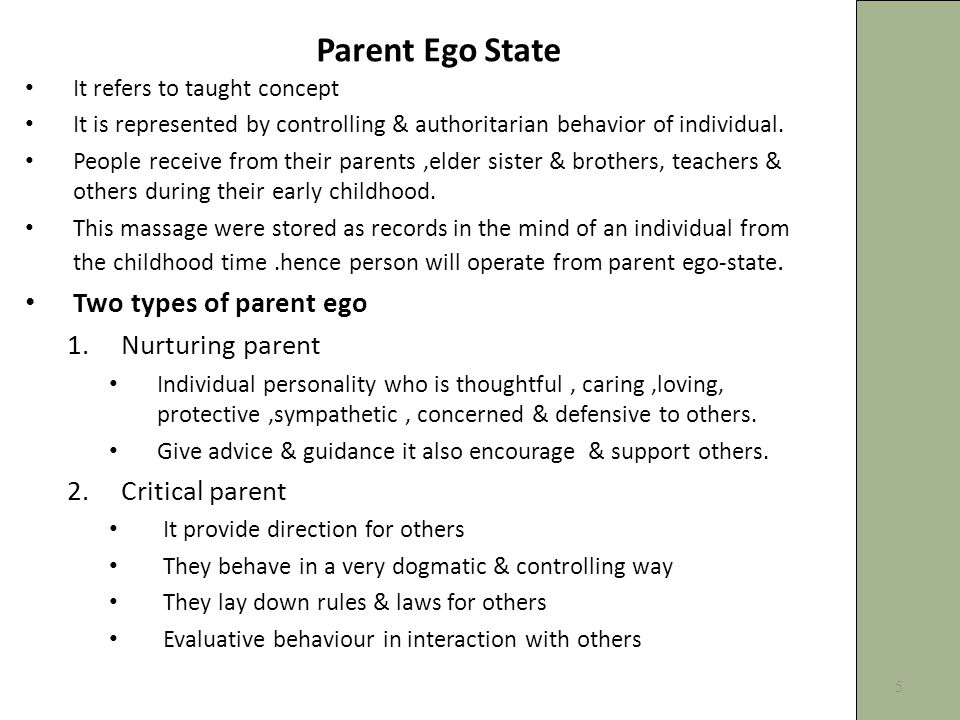 Parent Ego State It refers to taught concept It is represented by controlling & authoritarian behavior of individual.