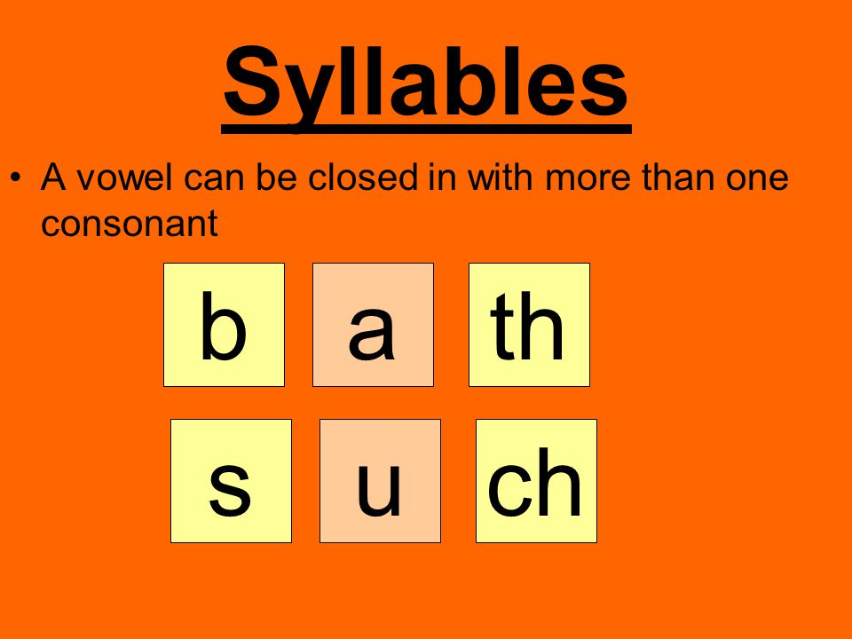 Syllables A vowel can be closed in with more than one consonant athb uchs