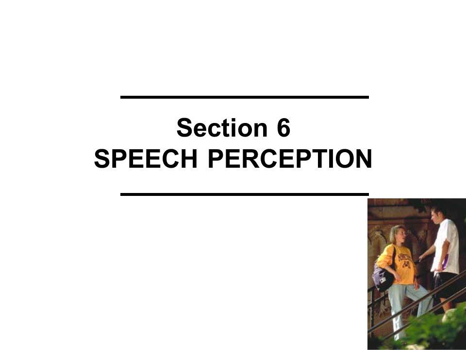 Section 6 SPEECH PERCEPTION
