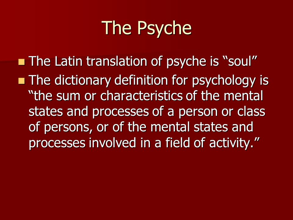 The Psyche The Latin translation of psyche is soul The Latin translation of psyche is soul The dictionary definition for psychology is the sum or characteristics of the mental states and processes of a person or class of persons, or of the mental states and processes involved in a field of activity. The dictionary definition for psychology is the sum or characteristics of the mental states and processes of a person or class of persons, or of the mental states and processes involved in a field of activity.