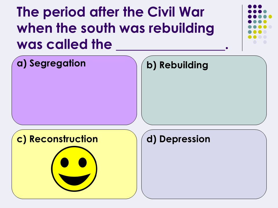 4 th Quarter 30 Questions on following topics: Reconstruction 20 th Century Virginia Civil Rights Movement