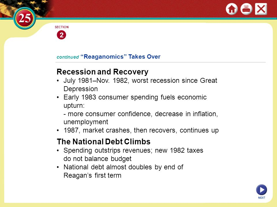 "continued ""Reaganomics"" Takes Over Recession and Recovery July 1981–Nov. 1982, worst recession since Great Depression Early 1983 consumer spending fue"