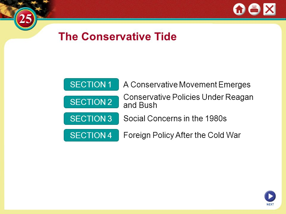 SECTION 1 SECTION 2 SECTION 3 SECTION 4 A Conservative Movement Emerges Conservative Policies Under Reagan and Bush Social Concerns in the 1980s Forei
