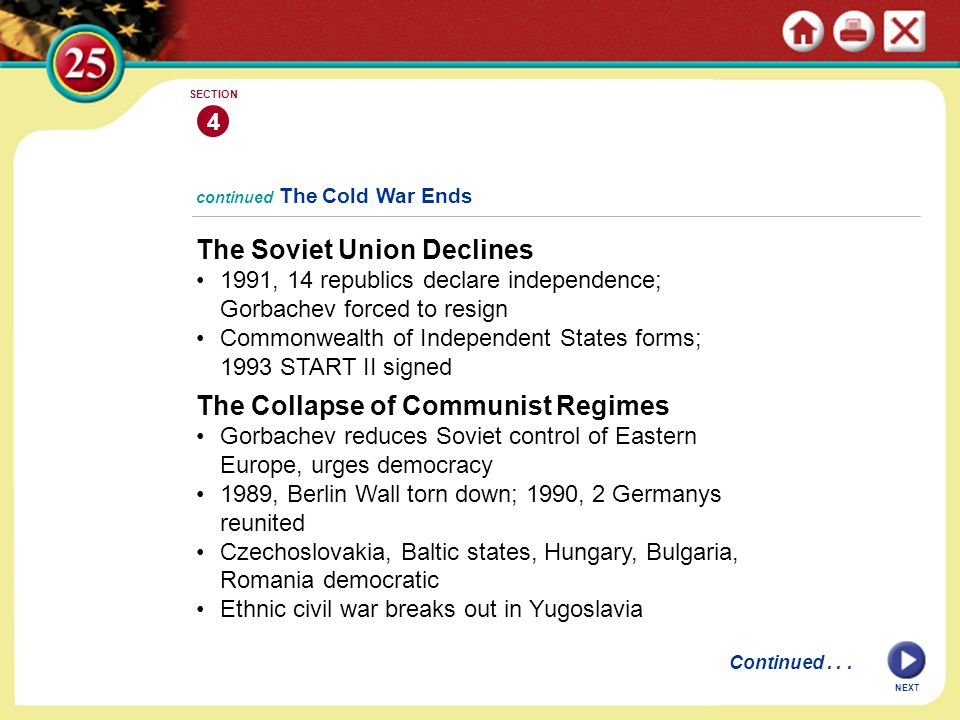 NEXT 4 SECTION The Soviet Union Declines 1991, 14 republics declare independence; Gorbachev forced to resign Commonwealth of Independent States forms;