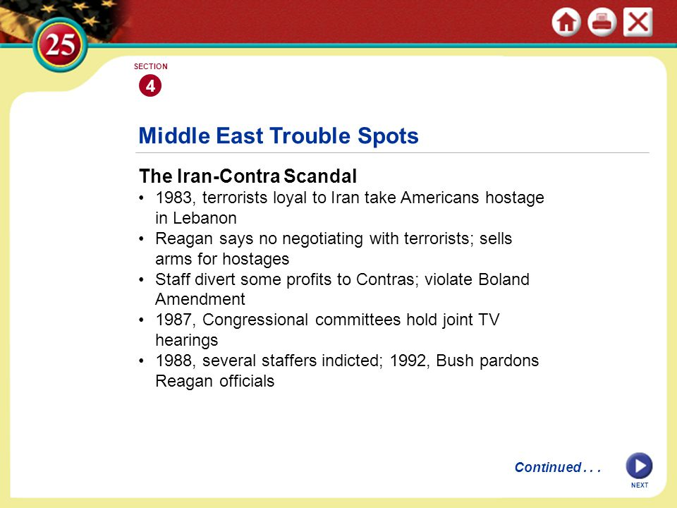 NEXT 4 SECTION The Iran-Contra Scandal 1983, terrorists loyal to Iran take Americans hostage in Lebanon Reagan says no negotiating with terrorists; se