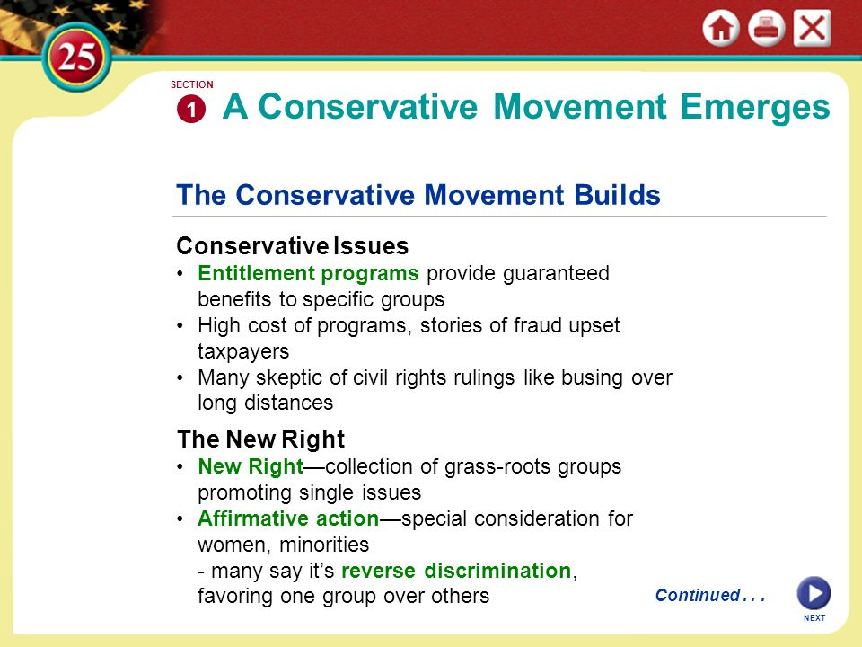 The Conservative Coalition Business, religious, other groups form conservative coalition Conservative periodicals, think tanks discuss, develop policies Goals are small government, family values, patriotism, business 1 SECTION NEXT continued The Conservative Movement Builds The Moral Majority 1970s religious revival uses TV, radio; strong among fundamentalists Jerry Falwell's Moral Majority—Christians for traditional morals