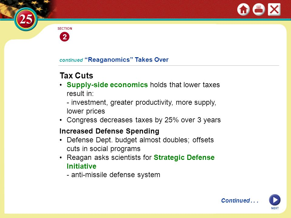 "continued ""Reaganomics"" Takes Over Tax Cuts Supply-side economics holds that lower taxes result in: - investment, greater productivity, more supply, l"