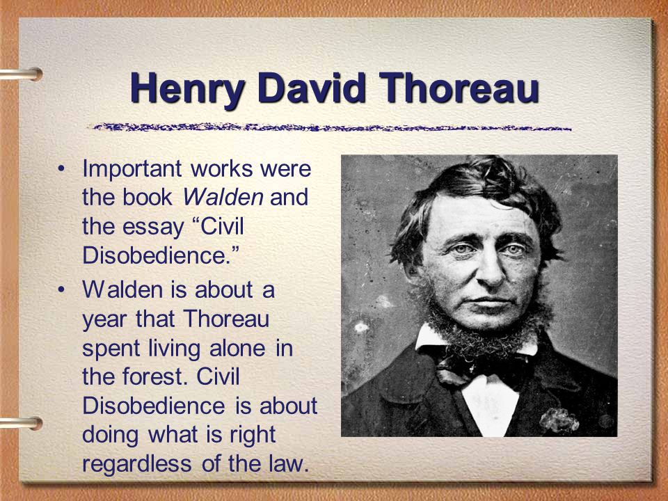 Henry David Thoreau Important works were the book Walden and the essay Civil Disobedience. Walden is about a year that Thoreau spent living alone in the forest.