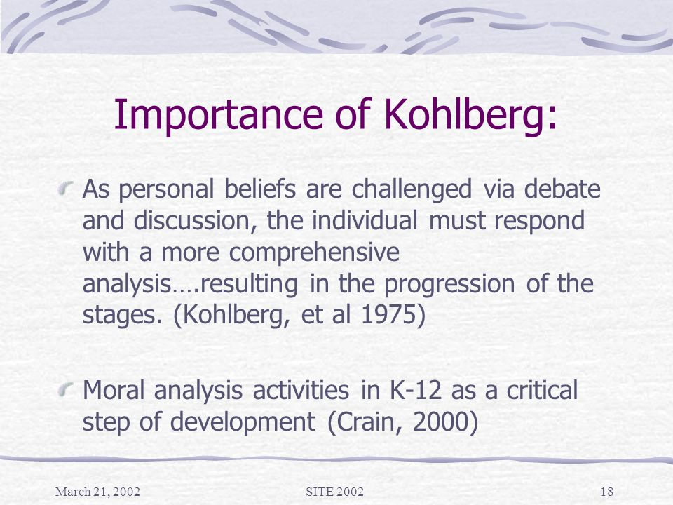 March 21, 2002SITE 200218 Importance of Kohlberg: As personal beliefs are challenged via debate and discussion, the individual must respond with a more comprehensive analysis….resulting in the progression of the stages.