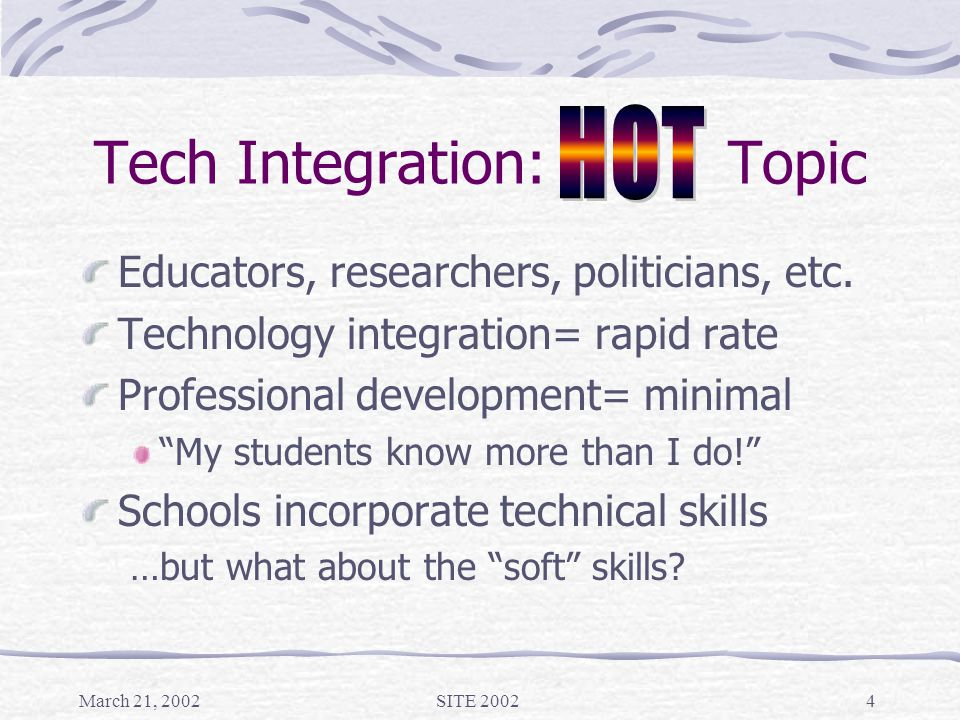 March 21, 2002SITE 20024 Tech Integration: Topic Educators, researchers, politicians, etc.