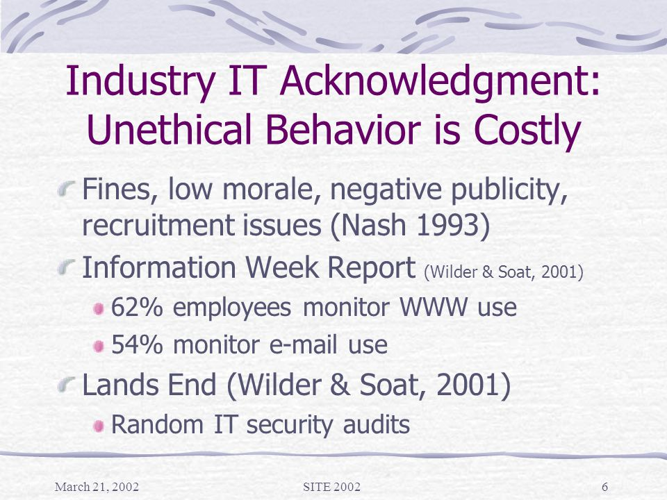 March 21, 2002SITE 20026 Industry IT Acknowledgment: Unethical Behavior is Costly Fines, low morale, negative publicity, recruitment issues (Nash 1993) Information Week Report (Wilder & Soat, 2001) 62% employees monitor WWW use 54% monitor e-mail use Lands End (Wilder & Soat, 2001) Random IT security audits