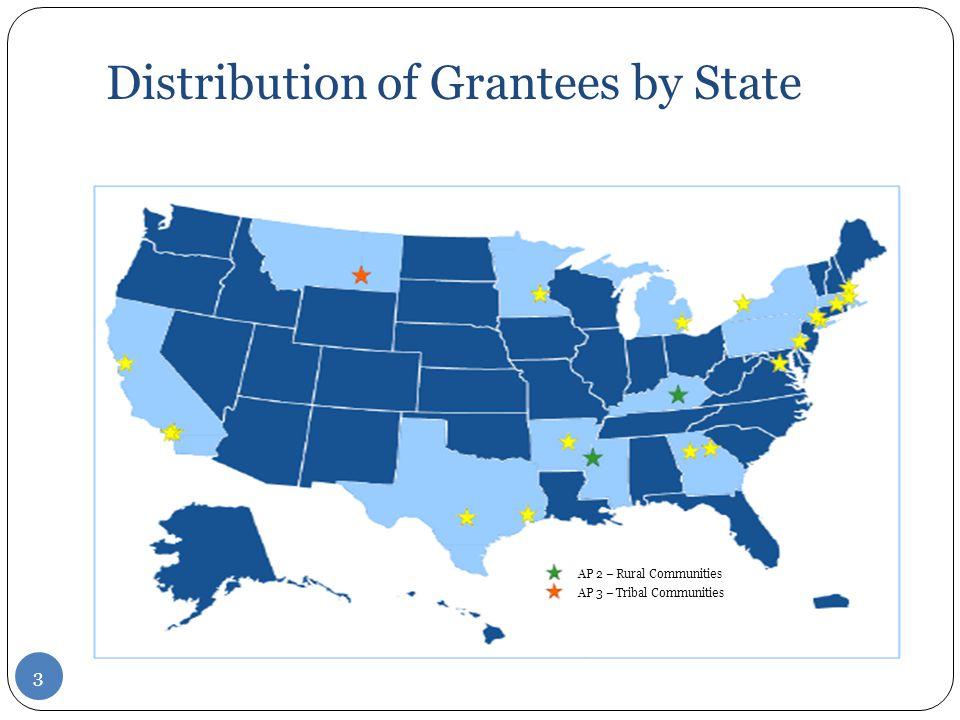 Distribution of Grantees by State 3 AP 2 – Rural Communities AP 3 – Tribal Communities