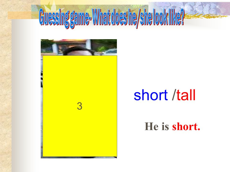 3 short /tall He is short.