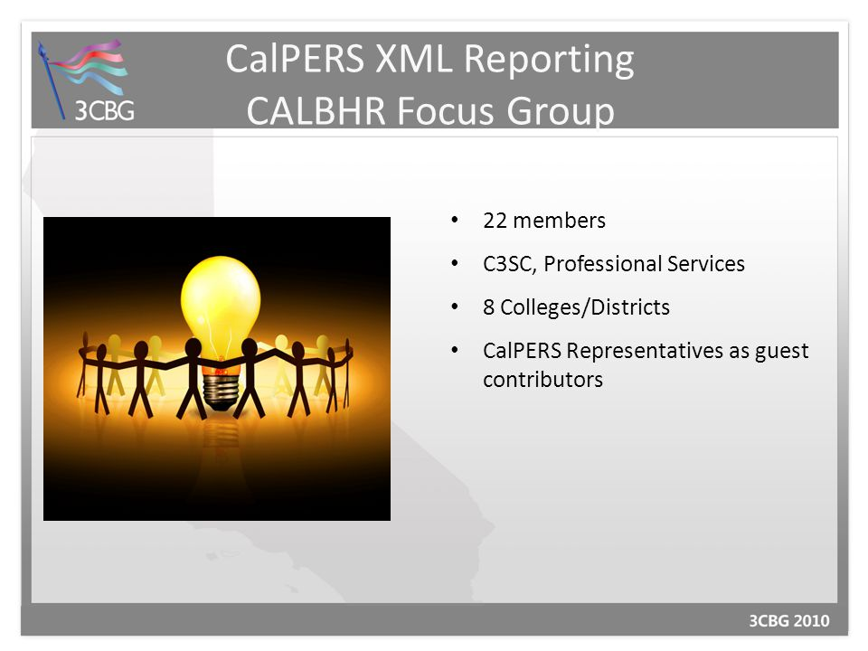 CalPERS XML Reporting CALBHR Focus Group 22 members C3SC, Professional Services 8 Colleges/Districts CalPERS Representatives as guest contributors