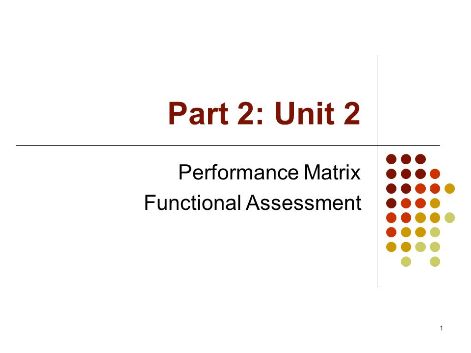 1 Part 2: Unit 2 Performance Matrix Functional Assessment